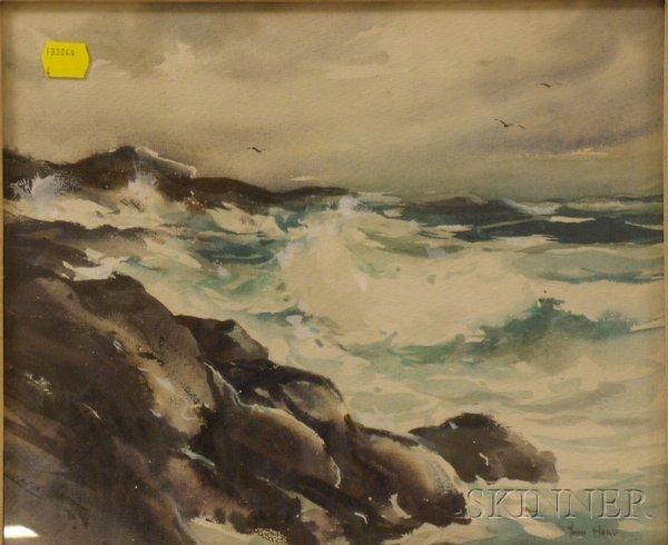 1: Framed Watercolor on Paper Coastal Landscape by John