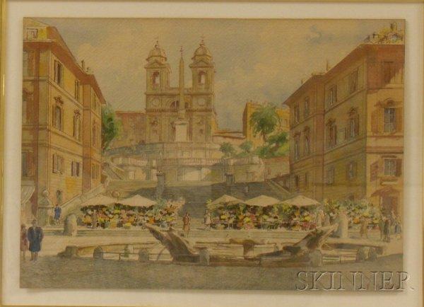 2: Framed 20th Century Italian School Watercolor on Pap