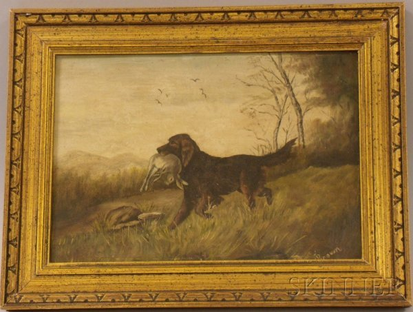 4: Framed 19th/20th Century Oil on Artistboard Sporting