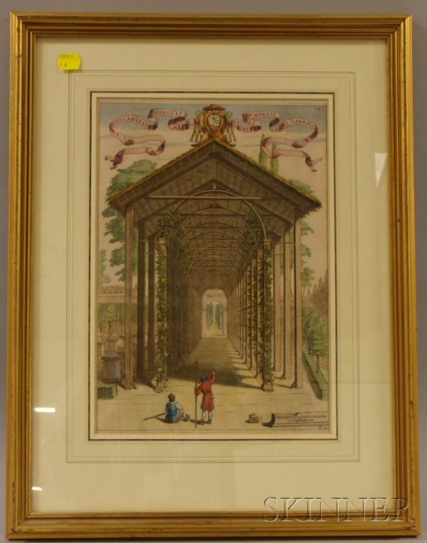14: Framed Hand-colored Etching of an Orangerie, inscri