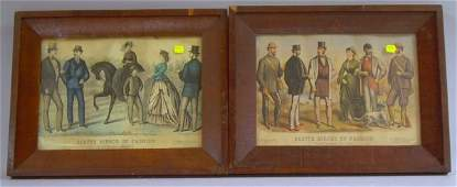 354 Lot of Eight Framed Small Folio Currier  Ives Por