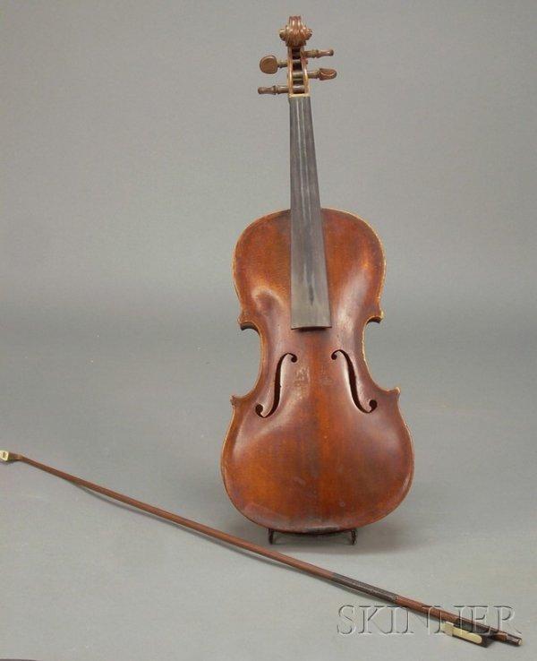 510: German Violin, c. 1850, unlabeled, length of one-p