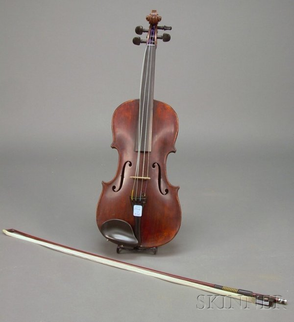 512: German Violin, c. 1880, unlabeled, length of two-p