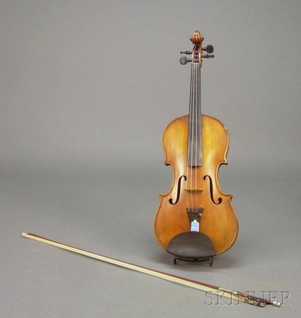 514: German Violin, c. 1830, unlabeled, length of two-p