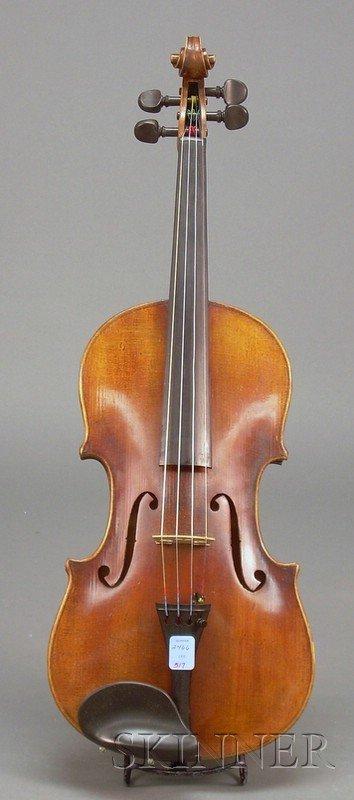 517: German Violin, c. 1900, unlabeled, length of one-p