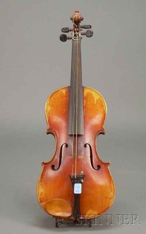 518: German Violin, c. 1920, unlabeled, length of two-p