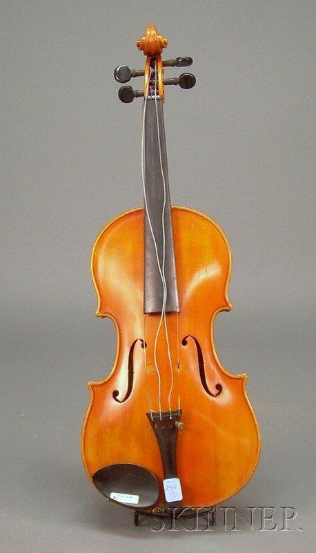 523: Modern German Violin, unlabeled, length of two-pie