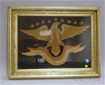 795 Giltwood Framed Asian Embroidered Eagle and Banner