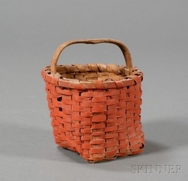3: Small Red-painted Woven Splint Basket, America, 19th