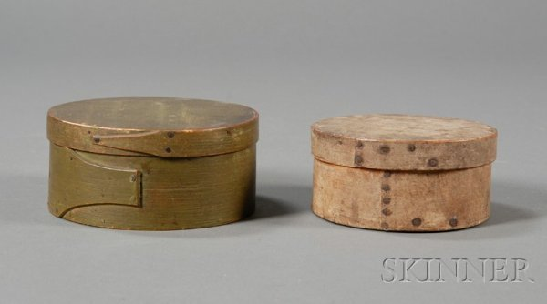 5: Two Small Round Painted Lapped-seam Covered Boxes, A