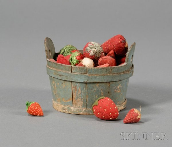 8: Miniature Blue-painted Wooden Tub Filled with Strawb