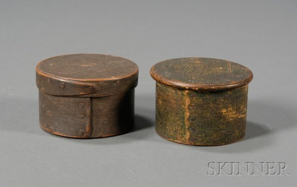 9: Two Small Round Painted Lapped-seam Covered Boxes, A