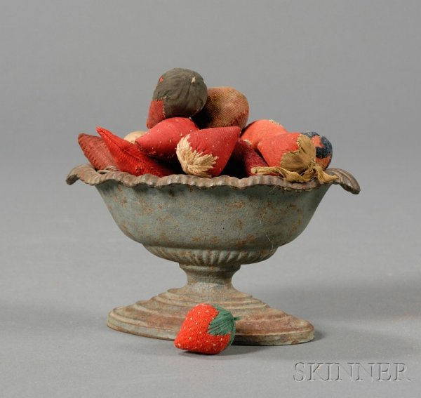 10: Small Blue-painted Cast Iron Urn Filled with Strawb