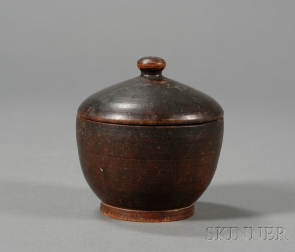 13: Turned Treen Covered Sugar Bowl, America, 19th cent