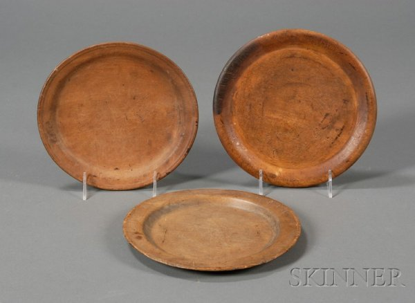 14: Three Round Turned Wooden Trenchers, America, 18th/