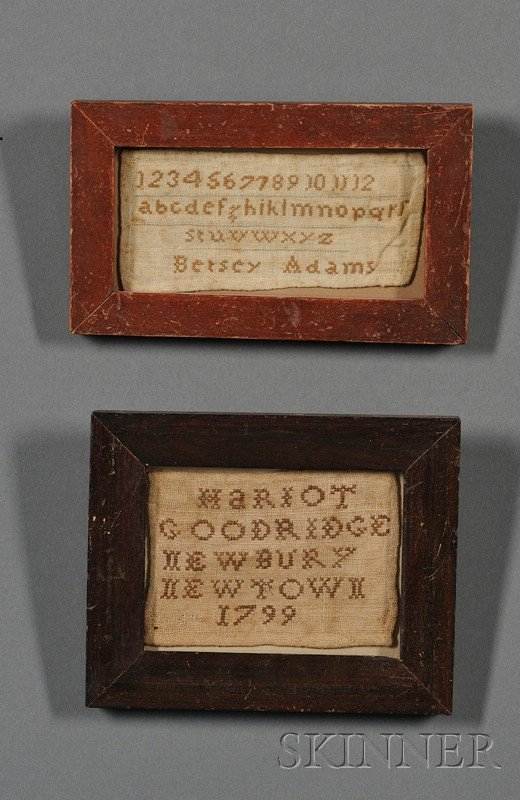 16: Two Small Framed Samplers, America, late 18th/early