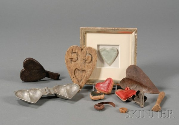 17: Twelve Small Heart-Themed Items, America, 19th/earl