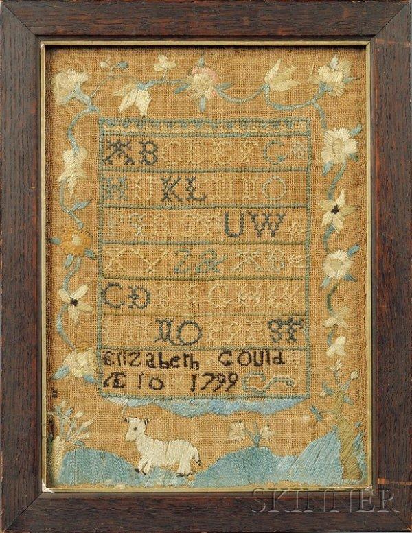 "21: Small Needlework Sampler, ""Elizabeth Gould AE 10 17"