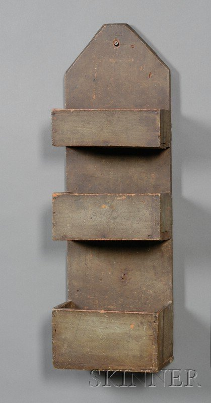 22: Green-painted Three-tier Wall Box, America, 19th ce