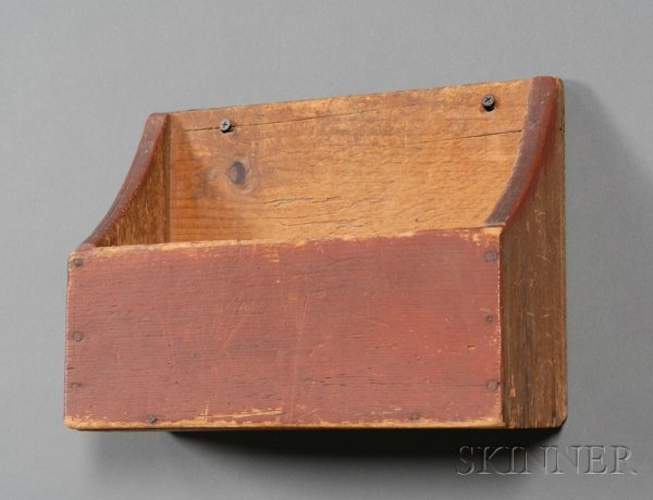 23: Red-painted Pine Wall Box, America, 19th century, h