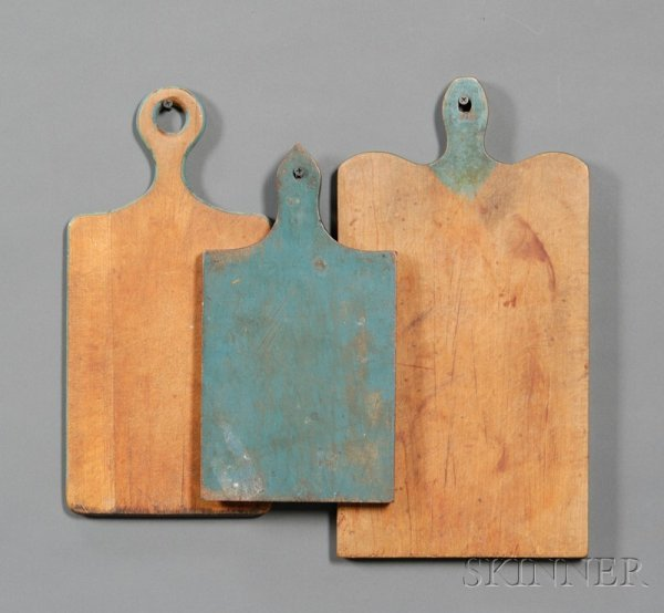 24: Three Blue-painted Wooden Cutting Boards, America,