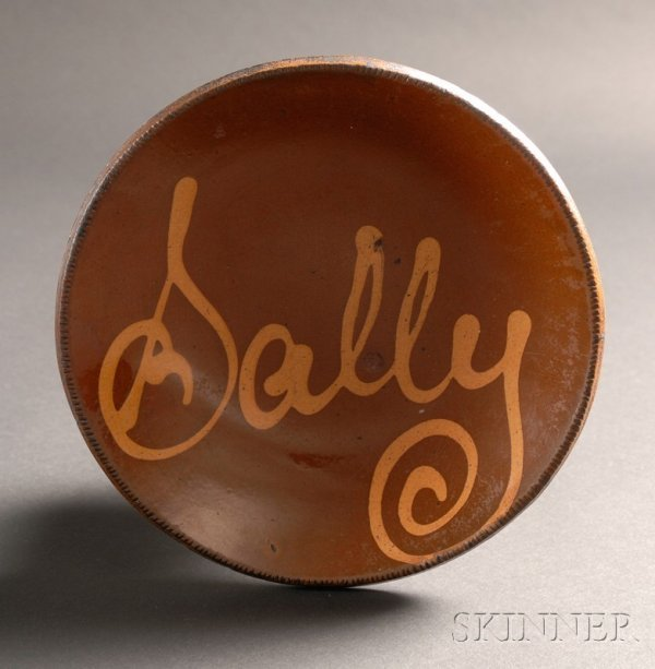 """94: Redware Plate with Yellow Slip Inscription """"Sally,"""""""