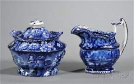 267: Blue Transfer-decorated Staffordshire Pottery Crea