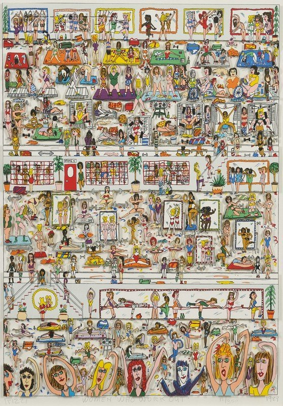 162: James Rizzi (American, b. 1950) Women Who Work Out