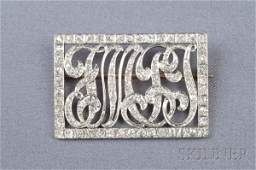463 Edwardian Diamond Monogram Brooch set with old mi