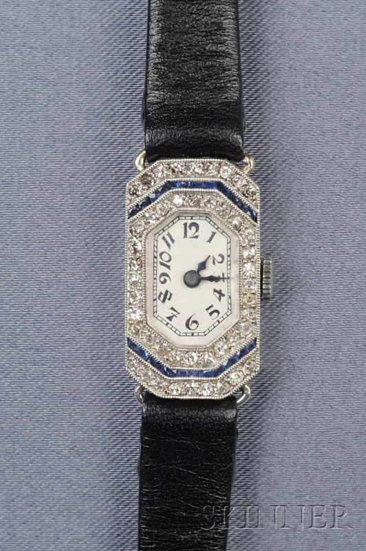 478: Art Deco Diamond Wristwatch, the white metal dial