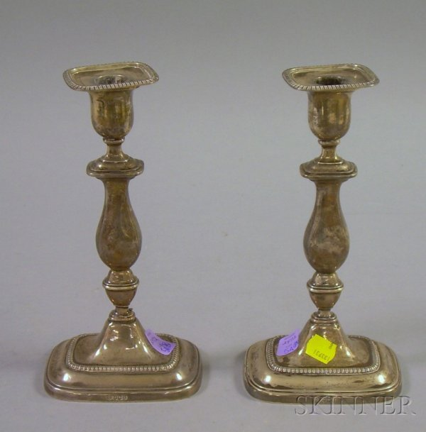 5A: Pair of English Sterling Silver Weighted Tall Candl