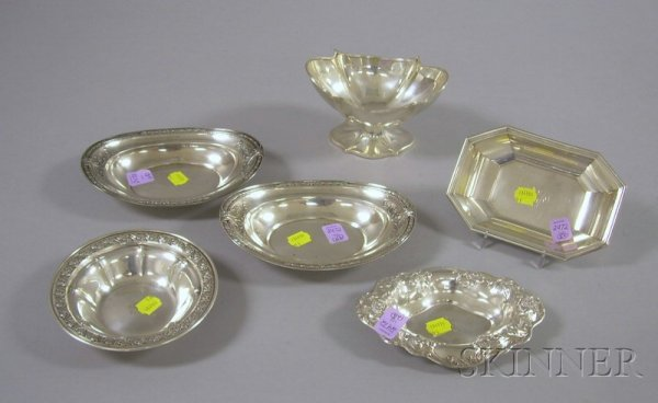 12: Six Small Sterling Side Dishes, a pair of Internati