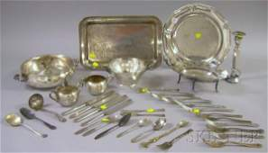 113 Group of Silver Plated Flatware and Serving Items