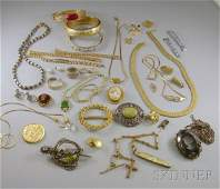 391 Group of Mostly Costume Jewelry including gold an