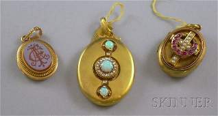 461: Three Antique 14kt Gold Lockets, one with opals an
