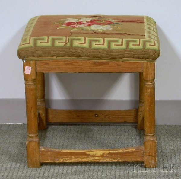 505: Needlepoint Upholstered 18th Century Pine Stool, h