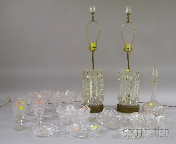 508: Seventeen Colorless Cut Glass Table Items, a pair