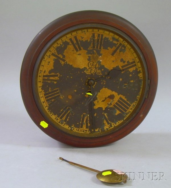 516: English Dial Clock, with mahogany case, painted ir