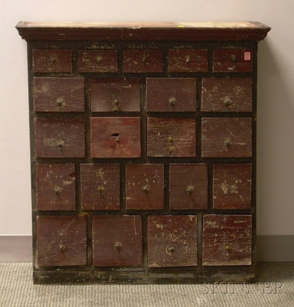 520: Painted Wooden Twenty-one Drawer Apothecary Chest,