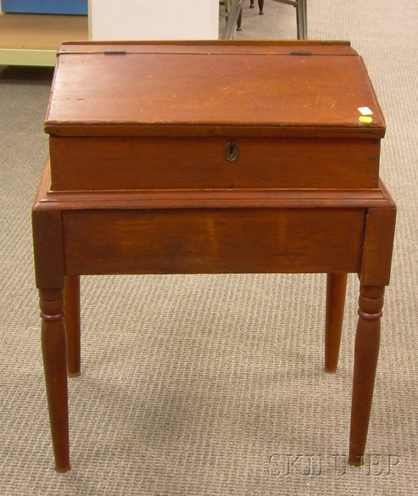522: Pine Slant Lift-top Desk Box on Stand, overall ht.