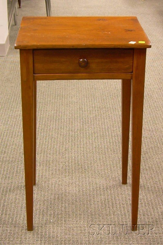 522A: Country Federal Pine Taper Leg Stand with Drawer.