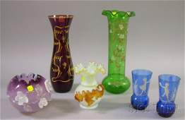 867: Six Pieces of Late Victorian Art Glass, a pair of