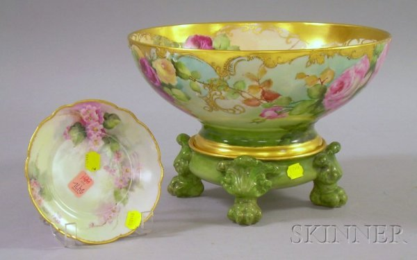 884: Gilt and Hand-painted Limoges Porcelain Rose Decor