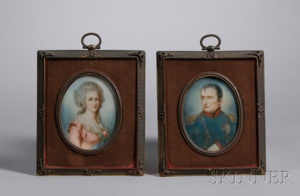 1010: Pair of Gilt-metal and Cloth Framed Miniature Han
