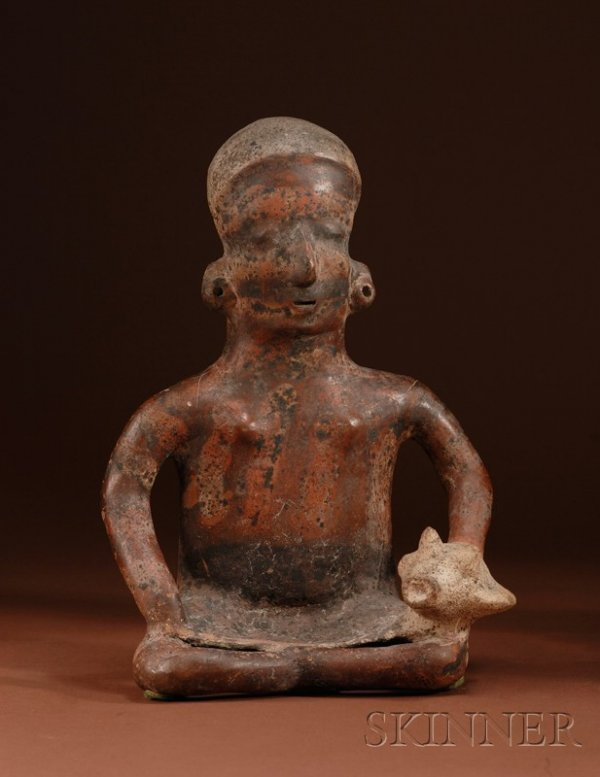 1: Pre-Columbian Painted Pottery Figure, Colima, c. 100