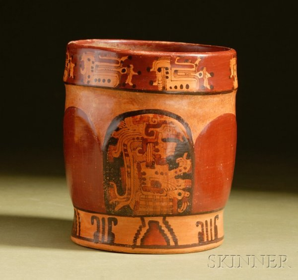 10: Pre-Columbian Polychrome Pottery Cylinder, Maya, th