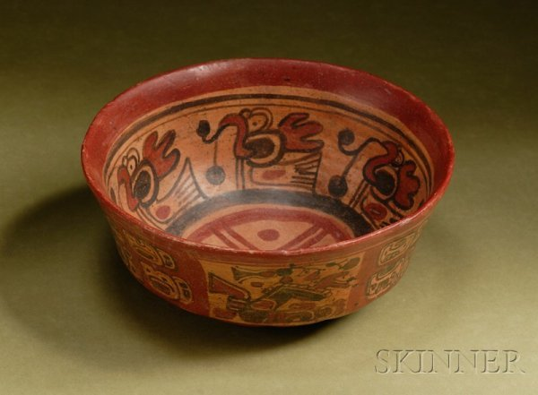 11: Pre-Columbian Polychrome Pottery Bowl, Maya, c. 300