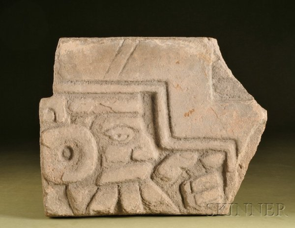 13: Pre-Columbian Stone Panel, Mexico, possibly Toltec,
