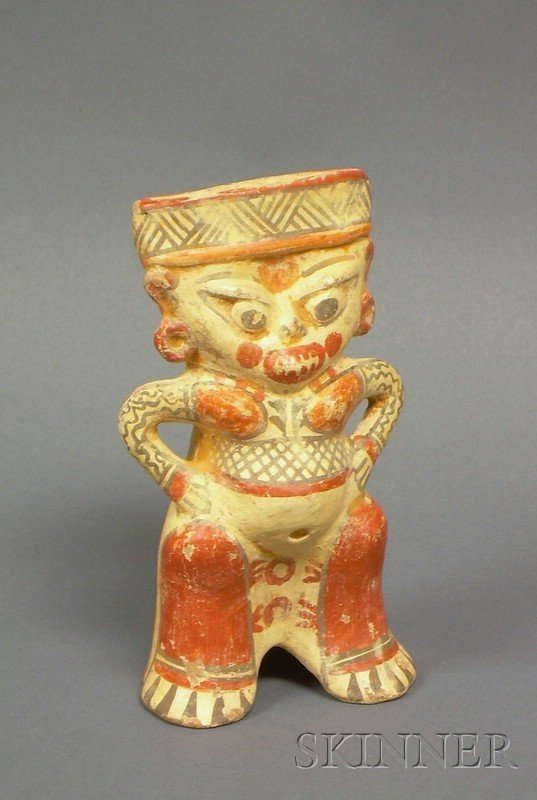 21: Pre-Columbian Painted Pottery Figure, Costa Rica, N