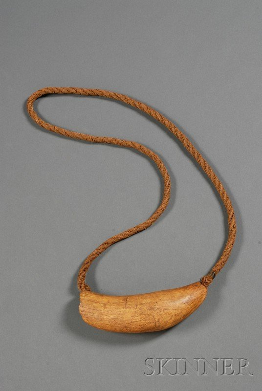 181: Polynesian Fiber and Whale Tooth Necklace, Fiji, T